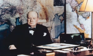 Winston Churchill in the No 10 Annexe Map Room, May 1945.