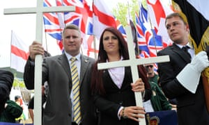 Paul Golding and Jayda Fransen at a Britain First march in Bury Park, Luton