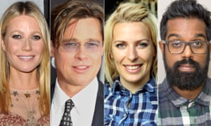L-R Gwyneth Paltrow, Brad Pitt, Sara Pascoe, Romesh Ranganathan