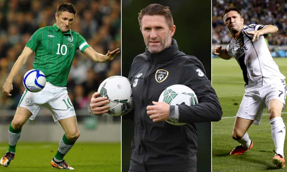 Robbie Keane in his days as a Republic of Ireland player and coach.