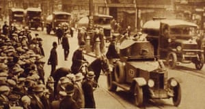 Military vehicles used during the General Strike, 1926. Miners' concerns over pay and dangerous conditions were a key factor in the General Strike