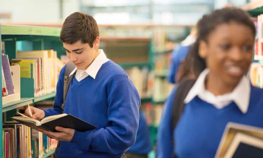 Pupils using a school library.