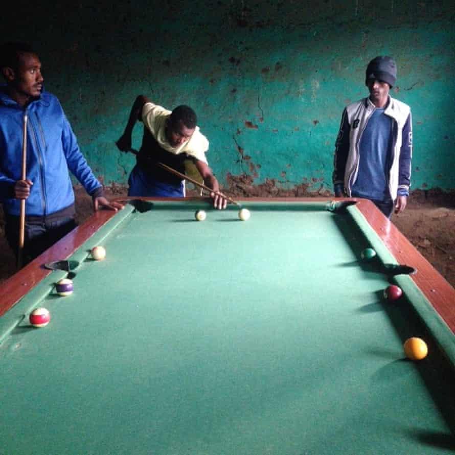 Athletes playing pool in Debre Tabor, Gondar