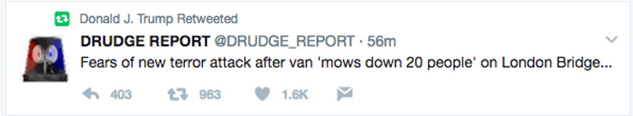 A screengrab of Donald Trump's retweet of a tweet from the Drudge Report.
