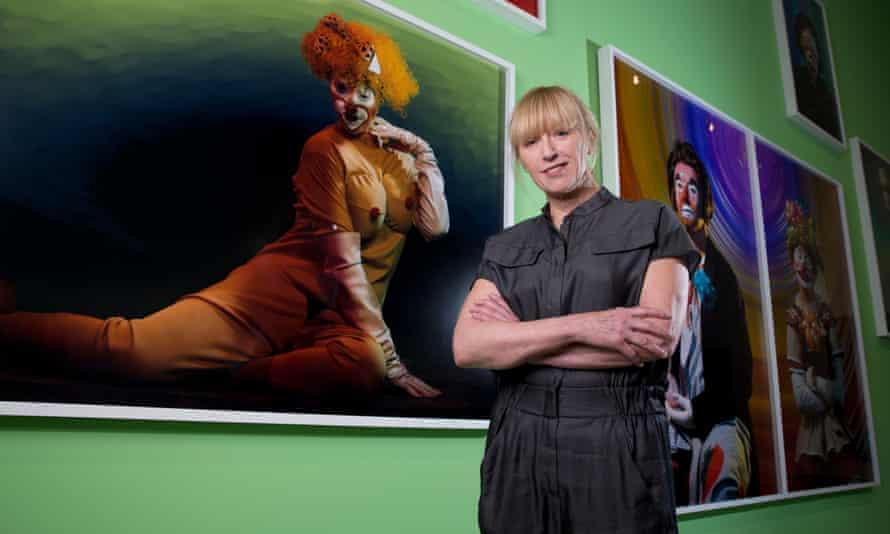 Cindy Sherman in front of her work at the Broad museum, Los Angeles