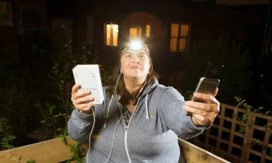 'They are so cryptic': Kate Jones at home with her bat- detecting equipment.