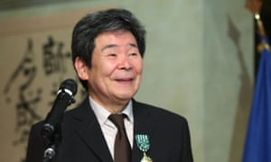 Isao Takahata is awarded Officier de l'Ordre des Arts et des Lettres from the French ambassador at the French embassy in Tokyo in 2015.