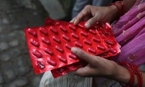 Medicine being distributed in Himachal Pradesh, India, as part of the National Tuberculosis Elimination Program, which aims for a TB free India by 2025.
