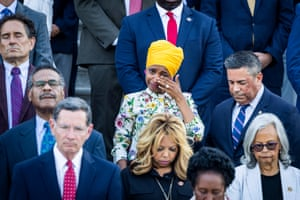 Washington, DC, US Democratic representative from Minnesota Ilhan Omar tears up during a moment of silence for 600,000 American lives lost to Covid-19, outside the Capitol building