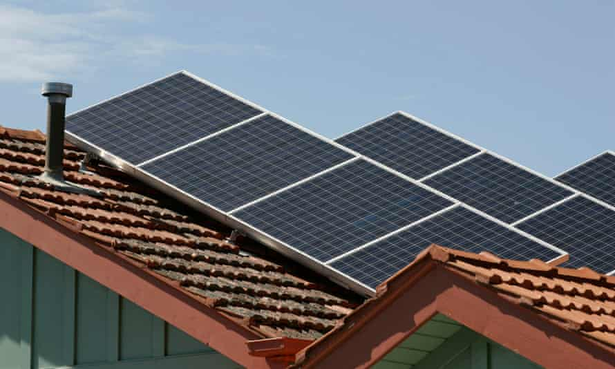 Solar panels on rooftops are seen in Melbourne, Monday, Jan. 5, 2009. (AAP Image/Raoul Wegat) NO ARCHIVING