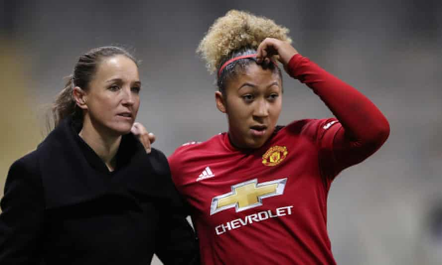 Lauren James (right) was among the players racially abused omline this week and her manager at Manchester United, Casey Stoney (left), described the attacks as 'utterly disgusting'.