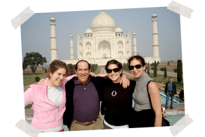 Mom, Dad, Natalie and me after Josh's death, at the Taj Mahal, Agra, India, 2005.