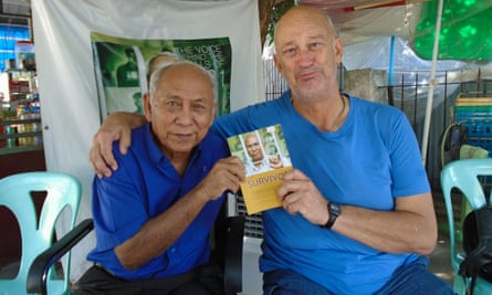 John Kirkaldy with Chum Mey at Tuol Sleng prison