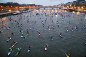 The Nautic SUP Paris Crossing stand-up paddle competition on the Seine in Paris, France