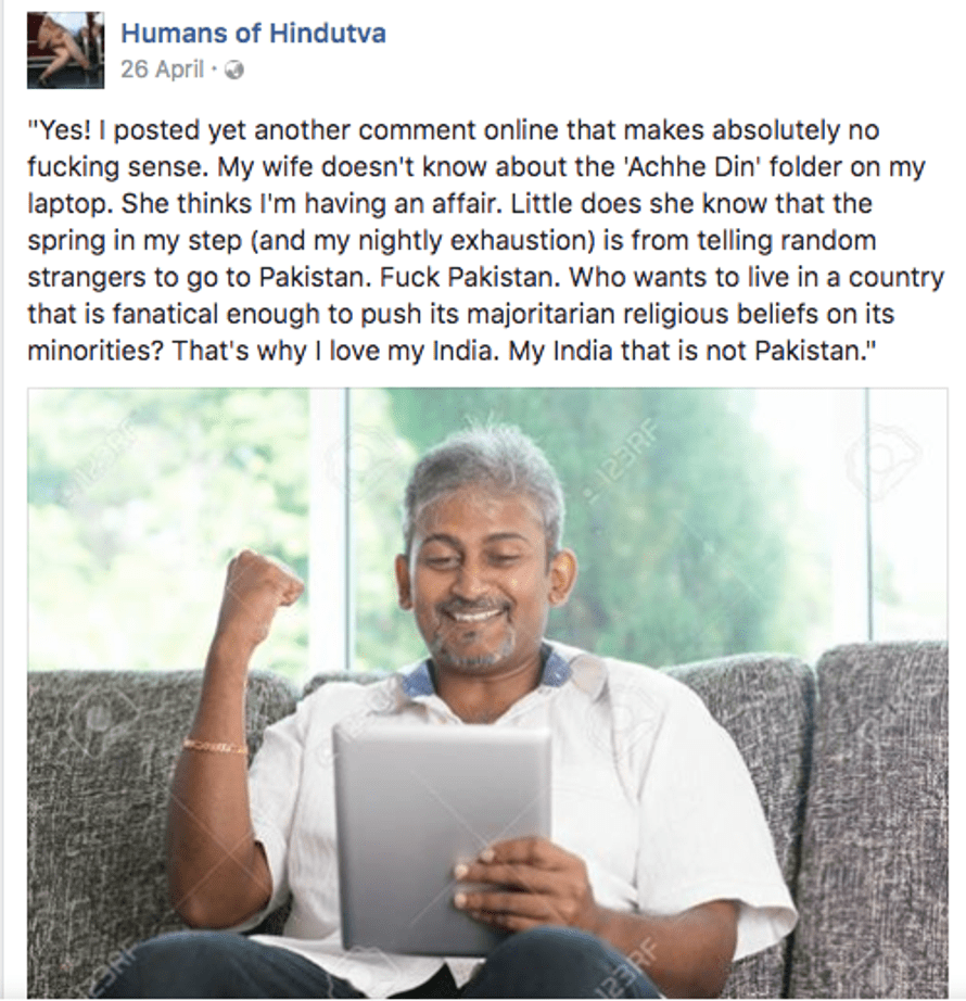 A screengrab of the Humans of Hindutva Facebook page. The author took it down after receiving death threats in India from Hindu nationalists. 31/12/17