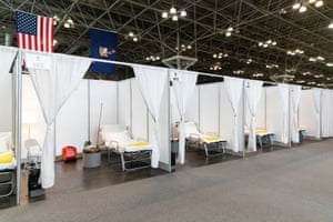 Improvised hospital rooms at the Jacob K. Javits Convention Center, which will be partially converted into a hospital for coronavirus patients.