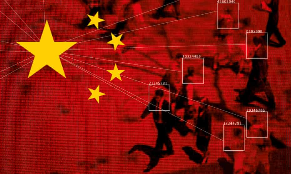 china flag and people on surveillance camera footage