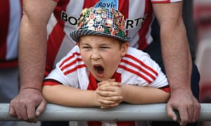 A young fan lets rip as Sunderland take on Man United.