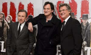 West is best … Quentin Tarantino with Tim Roth and Kurt Russell at the UK premiere of The Hateful Eight in London.