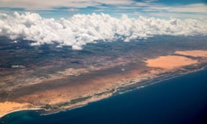 The Somali coast seen from the air. The crew of an Iranian fishing boat that washed ashore were kidnapped by al-Shabaab militants.