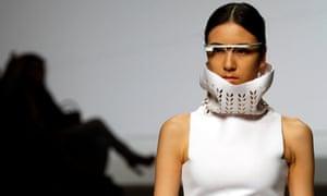 A model wears Google Glass