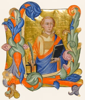 Historiated initial from an Antiphoner, St Lawrence holding a palm branch, the gridiron and a book (c. 1390) Don Silvestro dei Gherarducci, Niccolo Rosselli, Cenni di Francesco di Ser Cenni Florence, Italy