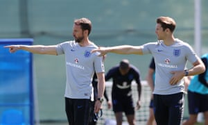 England's attacking coach, Allan Russell (right), works with Gareth Southgate in training at Zelenogorsk on Thursday.