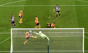 Newcastle United's Joelinton has a shot cleared off the line by Wolverhampton Wanderers' Romain Saiss.