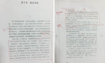 The two passages, highlighted in red ballpoint pen, that editors wanted to remove from the latest edition of Sheng Keyi's Northern Girls