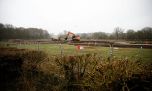 Work under way along the route of HS2 in Harefield, north-west of London, in January 2020.