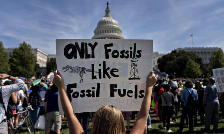 A protester during the Global Climate Strike demonstration in Washington DC on 20 September.