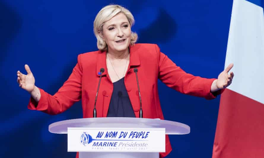 Marine Le Pen of the Front National speaks during a campaign meeting in Paris
