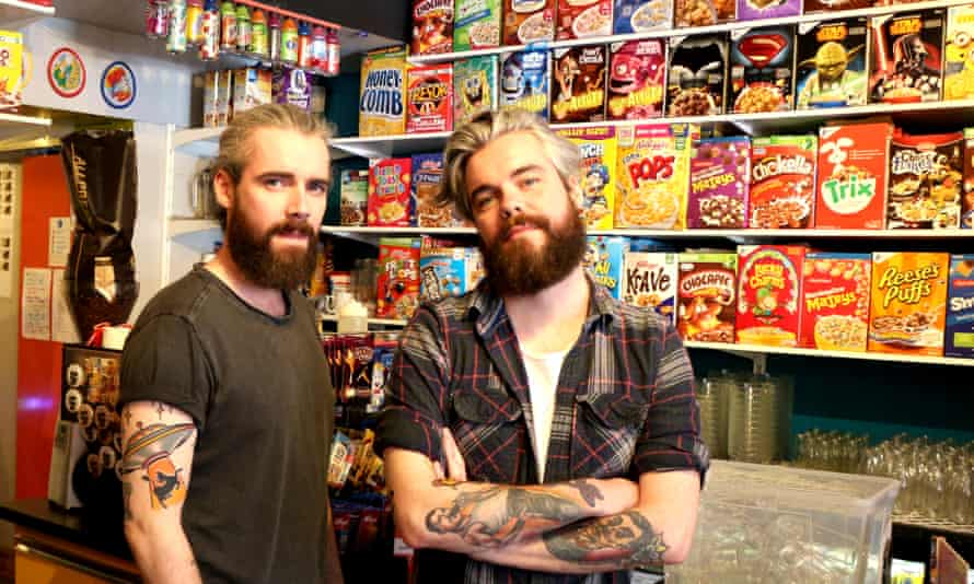 Belfast-born twins Alan and Gary Keery at their Brick Lane cafe, which serve bowls of cereal for up to £4.50
