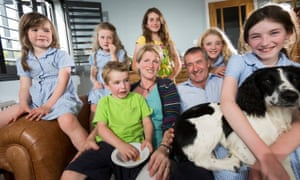 Sky News presenter Colin Brazier at home in Hampshire with his wife Jo and their six children in 2013.