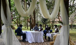 A wedding ceremony in Nairobi, attended by few relatives, and lasting fifteen for minutes only.