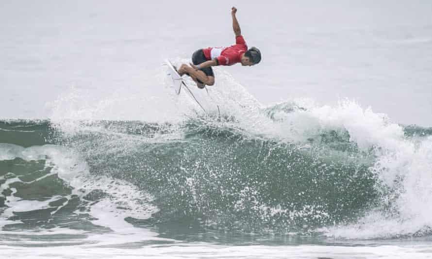 Shun Murakami of Japan competes during a Tokyo Olympics surfing test event at at Tsurigasaki Beach.
