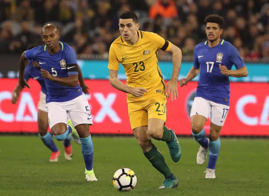 Tom Rogic runs with the ball during the recent 4-0 friendly defeat against Brazil