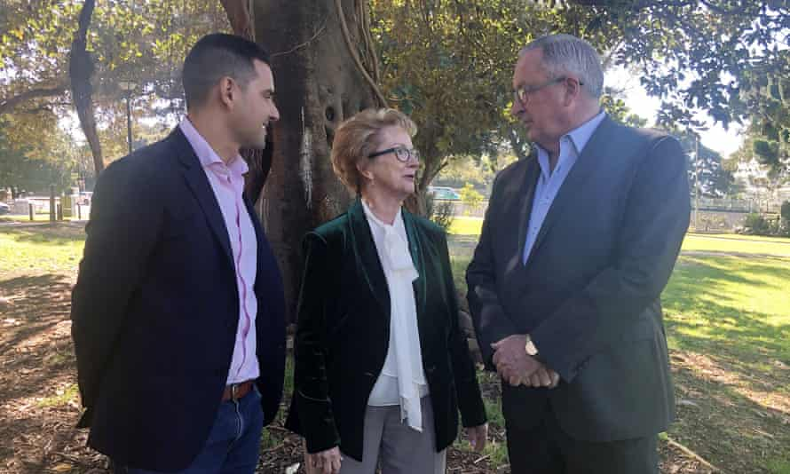 Independent Sydney MP Alex Greenwich with NSW Pro-Choice Alliance chair Wendy McCarthy and NSW health minister Brad Hazzard