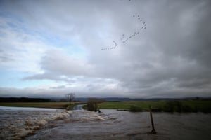 """A flock of migratory birds pass over flood water over a road near Appleby after <a href=""""http://www.theguardian.com/environment/flooding"""">Storm Desmond brought severe disruption</a> to areas of northern England."""