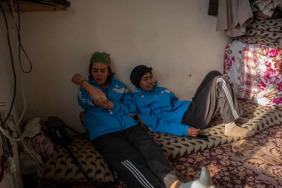 Sisters Nazima and Nazira sit at home exhausted, and bruised after both competing in the Afghan Ski Challenge.