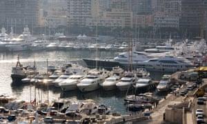 Yachts moored in Monaco harbour.