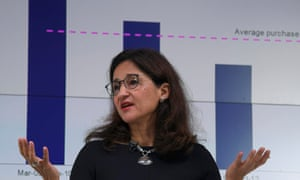 Minouche Shafik speaks at a financial markets event in London on Wednesday.