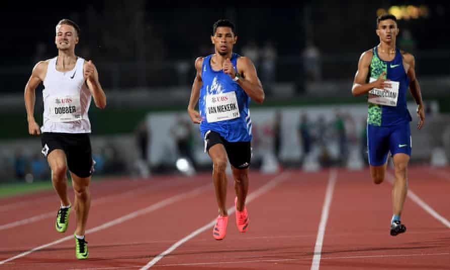 Wayde van Niekerk on his way to winning the men's 400m race at the Gala dei Castelli meeting in Bellinzona, Switzerland in September 2020