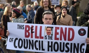 Social housing groups protest outside the House of Commons