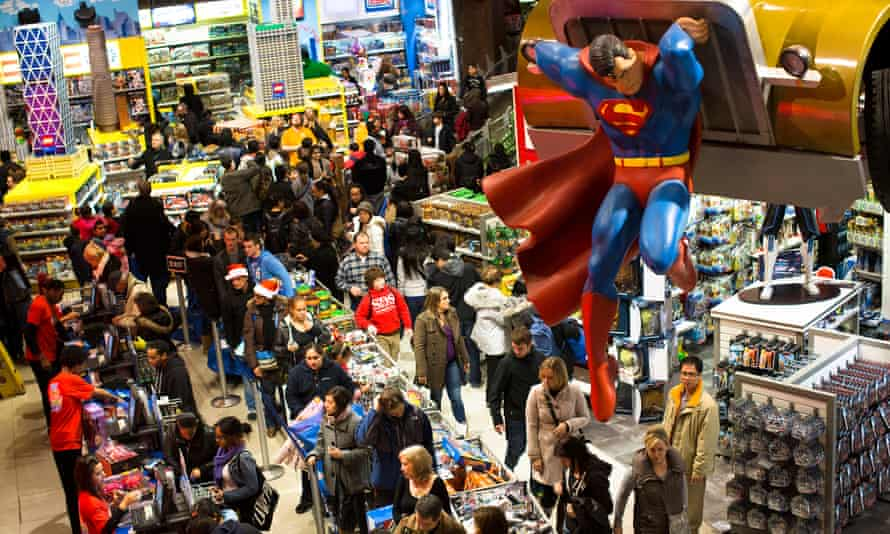 Shoppers in the Times Square branch of Toys-R-Us, New York.