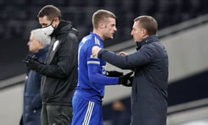 Vardy is hugged by Leicester's manager Brendan Rodgers after being substituted.