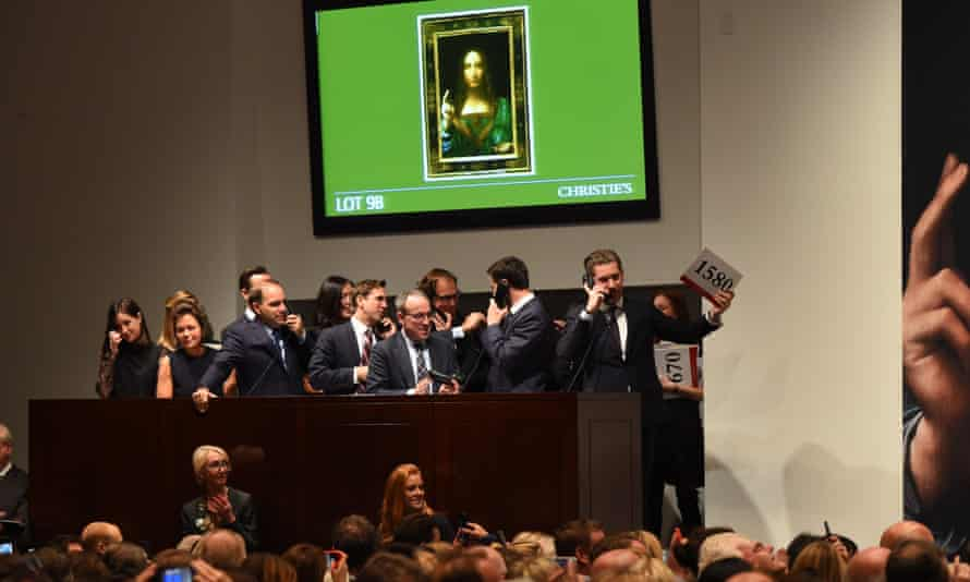 Auction for the Salvator Mundi at Christie's New York, 2017.