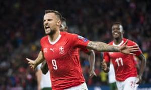 Haris Seferovic scoring Switzerland's opening goal with a low drive.