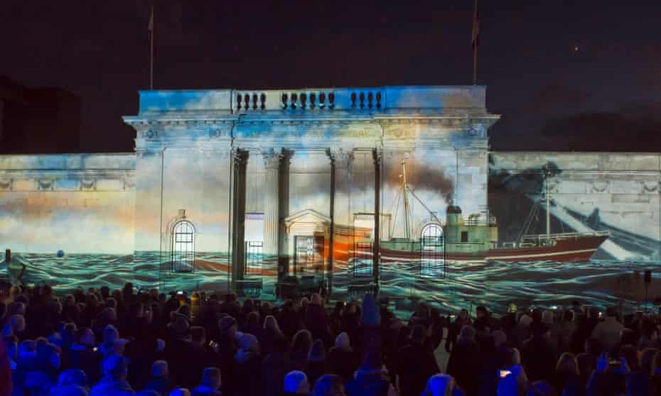 Salty yarns… the story of Hull is beamed on to the city's Ferens art gallery on New Year's Day.