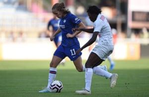 Chelsea's Guro Reiten is challenged by Nerilia Mondesir of Montpellier Herault Sport Club Feminines  at Stade Michel Bendichou on 6 August 2019.